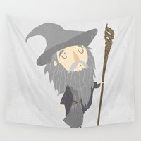 gandalf Wall Tapestries featuring Gandalf the grey by Rod Perich