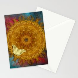 Magical fire mandala and gold butterfly Stationery Cards