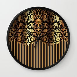 Gold and Black Damask and Stripe Design Wall Clock