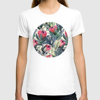 green T-shirts featuring Painted Protea Pattern by micklyn