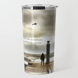 The girl in the storm, Cascais (Portugal) Travel Mug