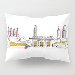 Kansas City Skyline Illustration in KC Football Colors Pillow Sham