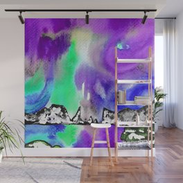 Northern Lights and Mountains -Purple Palette Wall Mural