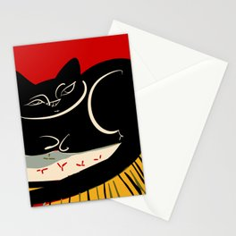 Black cat on a striped cushion Stationery Cards