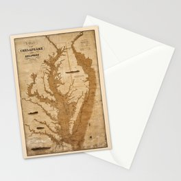 Map Of Chesapeake Bay 1832 Stationery Cards