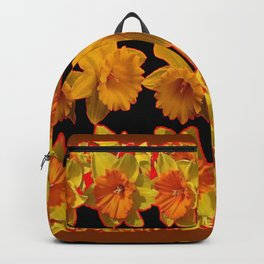 GOLDEN DAFFODILS GARDEN  COFFEE BROWN-BLACK ART Backpack