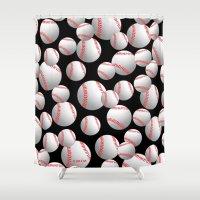 baseball Shower Curtains featuring Baseball by joanfriends