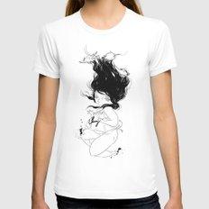 Plunge White MEDIUM Womens Fitted Tee