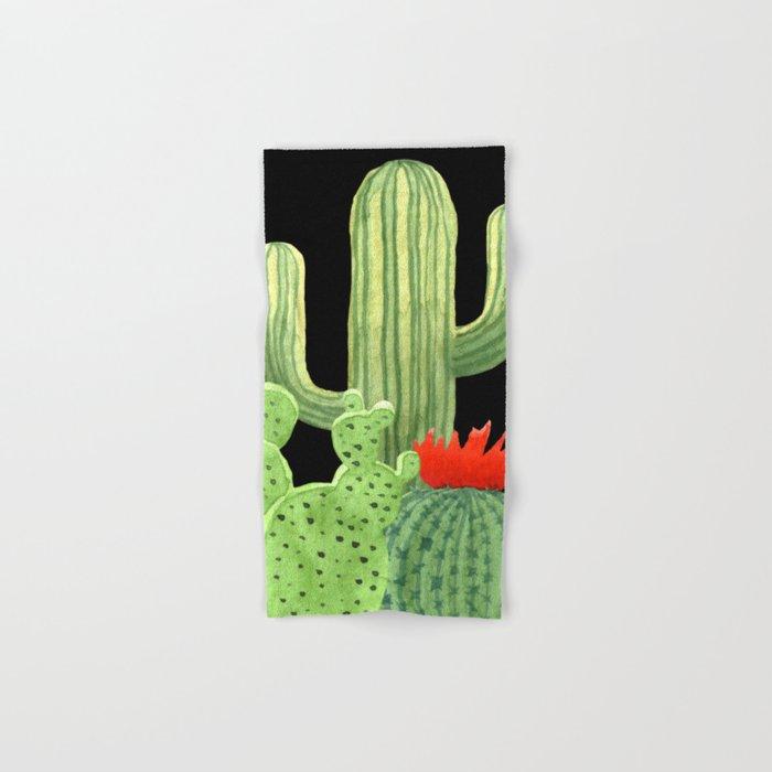 Perfect Cactus Bunch on Black Hand & Bath Towel