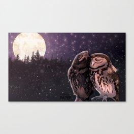 Owly kiss Canvas Print