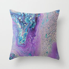 Purple Fluid Acrylic Abstract Painting - Slow Down  III Throw Pillow