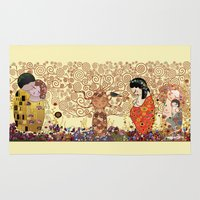 gustav klimt Area & Throw Rugs featuring Kokeshis Klimt by Pendientera