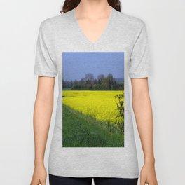 Rapeseed Field, UK  (Brassica napus Linnaeus) Unisex V-Neck