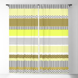 Yellow Mixed Pattern Color blocking Striped Blackout Curtain
