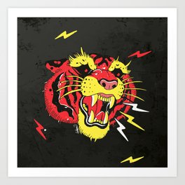 Red Tiger Tattoo Art Print