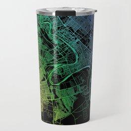 Baghdad, Iraq, City, Map, Rainbow, Map, Art, Print Travel Mug