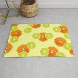 Lemon Orange Fruits pattern #lemon #orange Rug