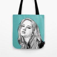 jennifer lawrence Tote Bags featuring Jennifer Lawrence by Sharin Yofitasari