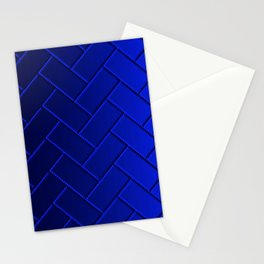 Herringbone Gradient Dark Blue Stationery Cards