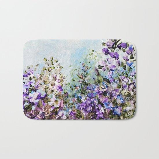 Floral Garden Impressionism in Pretty Purple Bath Mat