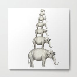 7 elefantes con gafas Metal Print