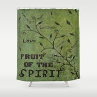 religious Shower Curtains featuring Faith Religious Art---Fruit of the Spirit---Bible Scripture Galations 5:22 by Saribelle rodriguez by Saribelle Inspirational Art