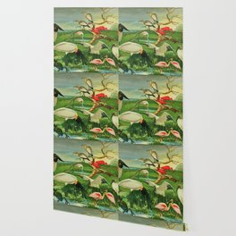 Amazonian birds by Göldi & Emil August Brazil Colorful Tropical Birds Illustration Flamingos Wallpaper