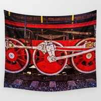 engineer Wall Tapestries featuring Vintage Steam Train Wheels by digital2real