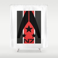 mass effect Shower Curtains featuring N7 MASS EFFECT by MDRMDRMDR