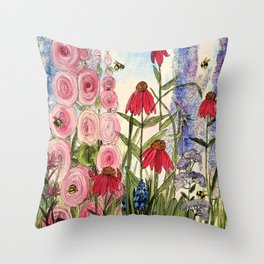 Cottage Garden Flower Whimsical Acrylic Painting Throw Pillow