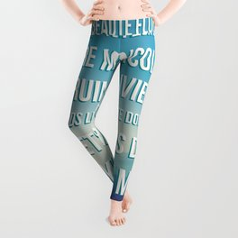 French Poetry Words of Love Leggings