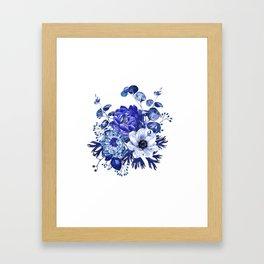 China Blue Porcelain, Asia, Peony, Flower, Floral, Cyan Framed Art Print