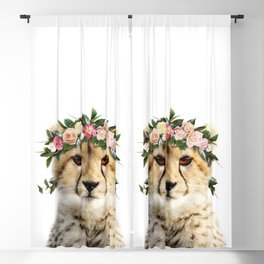 Baby Cheetah With Flower Crown, Baby Animals Art Print By Synplus Blackout Curtain