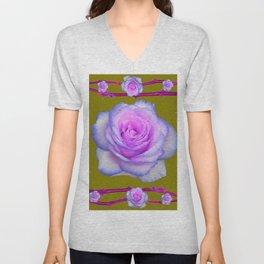 PINK-BLUE TINGED ROSES ON KHAKI COLOR Unisex V-Neck