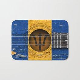 Old Vintage Acoustic Guitar with Barbados Flag Bath Mat
