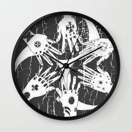 Hidari Gomon and Hajichi - Okinawan Pride - Traditional Tattoo Art Wall Clock