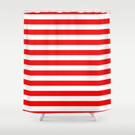 Large Berry Red and White Rustic Horizontal Tent Stripes Shower Curtain