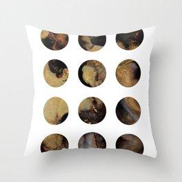 Gold, black & white cirlces A Throw Pillow