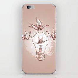 Origami paper cranes and light iPhone Skin