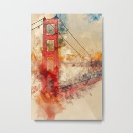 Golden Gate Bridge - Watercolor Metal Print