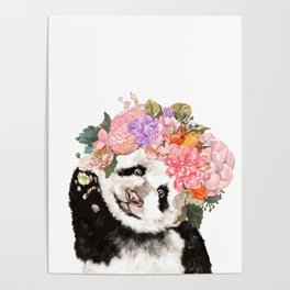 Baby Panda with Flowers Crown Poster