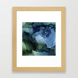 Blue Green Waves Abstract Ink Painting Framed Art Print
