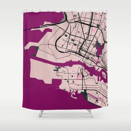 Okland Street Map // Violet Theme Shower Curtain