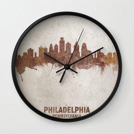 Philadelphia Pennsylvania Rust Skyline Wall Clock