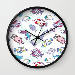 White Seamless pattern  with color fishes Wall Clock