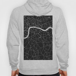 London Black on White Street Map Hoody