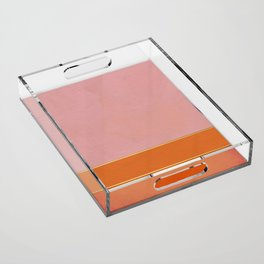 Orange, Pink And Gold Abstract Painting Acrylic Tray