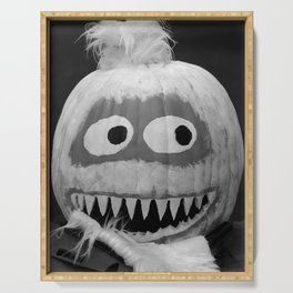 Quirky Pumpkin Head - bw Serving Tray