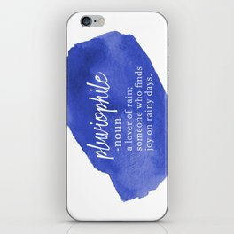 Pluviophile - Word Nerd Definition - Blue Watercolor iPhone Skin