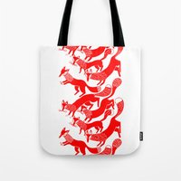 foxes Tote Bags featuring FOXES by Riku Ounaslehto